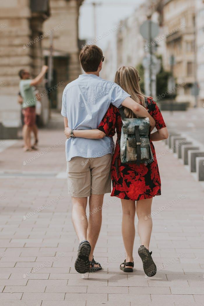 Millennials strolling in a park