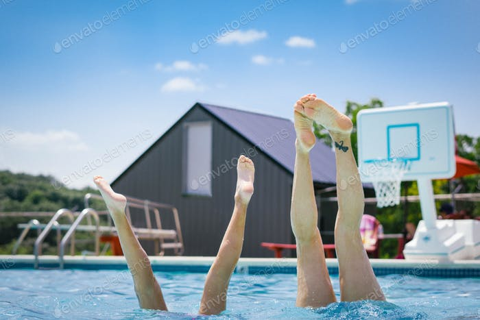 Handstands at the pool