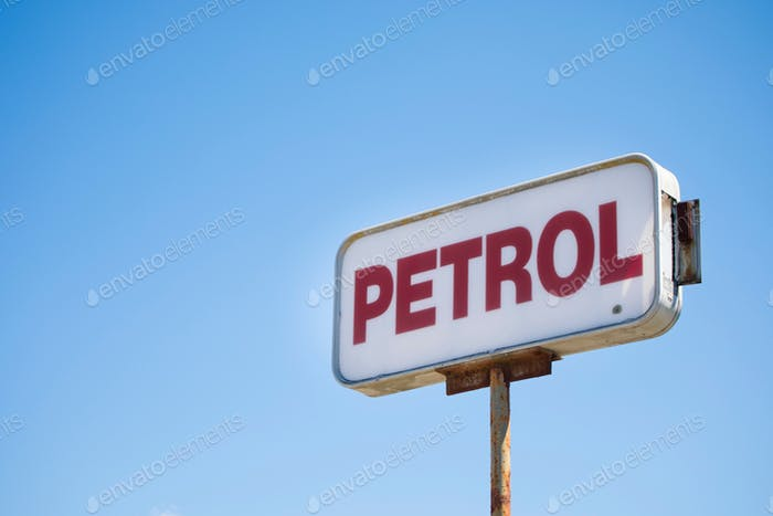 Petrol fuel sign blue sky