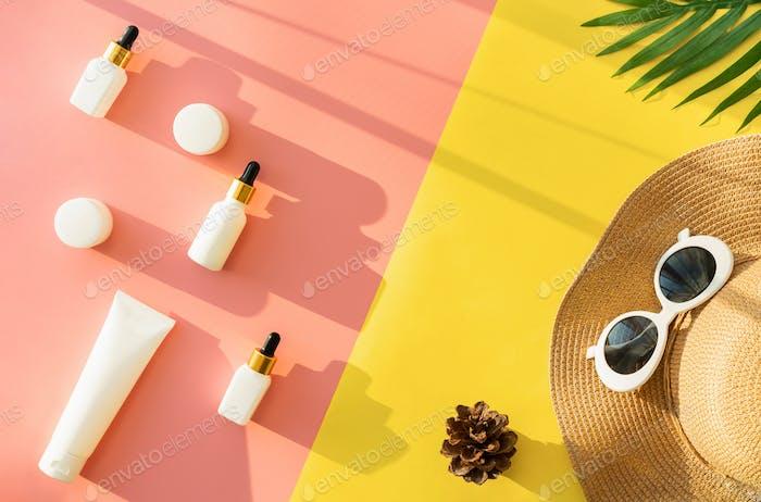 White bottle cream, mockup of beauty product brand