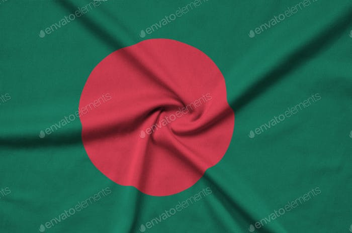 Bangladesh flag  is depicted on a sports cloth fabric with many folds. Sport team waving banner
