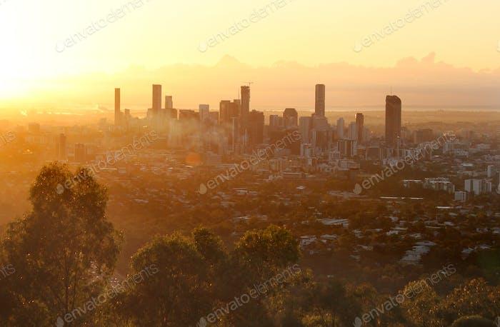Brisbane city skyline at sunrise - Queensland, Australia
