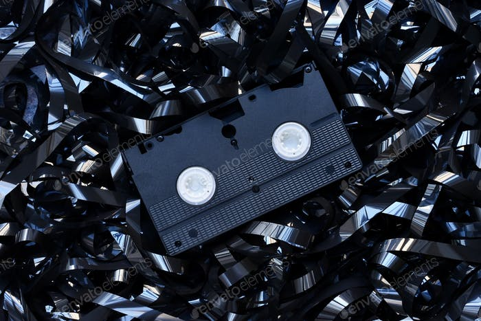 VHS tape in a tangled tape