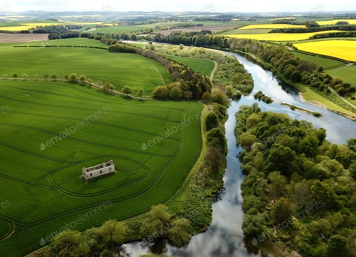 Twizzle river. England. Aerial.