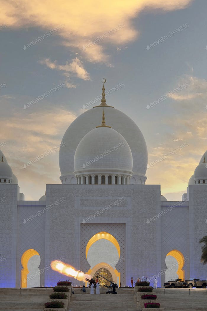 Iftar canon on Sheik Zayed Mosque