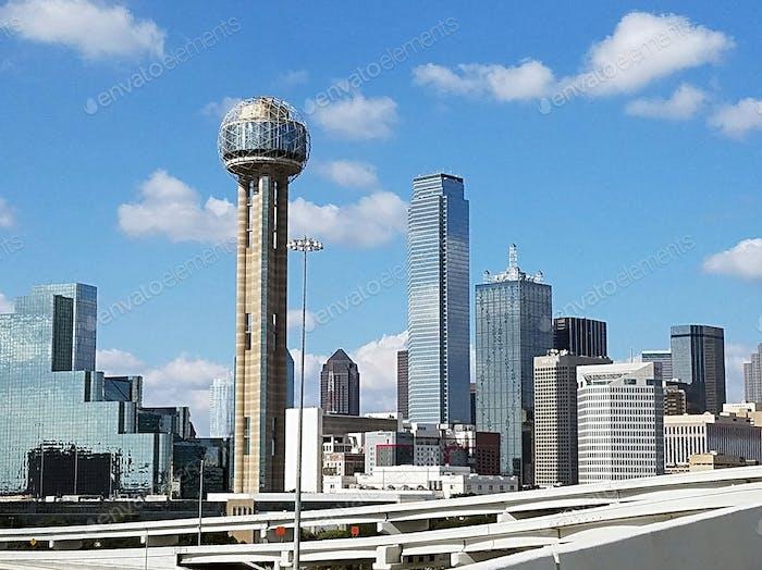 Cityscape of unique modern architecture along the Dallas, Texas skyline.