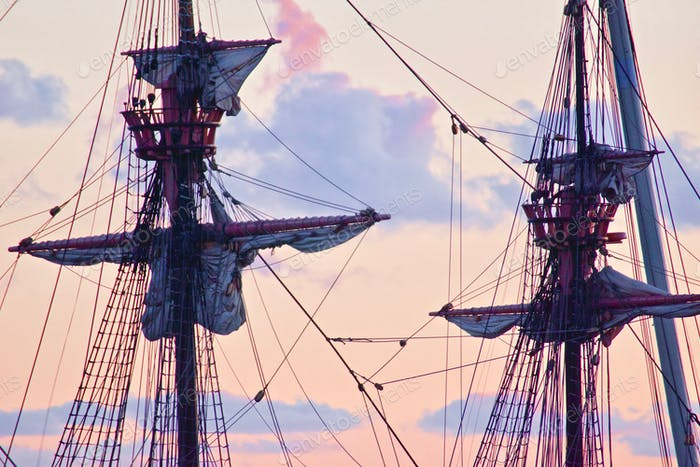 Real life pirate ship galleon docked in the San Diego Bay
