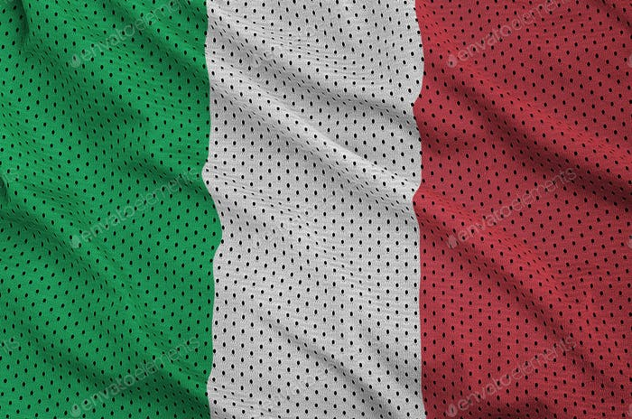 Italy flag printed on a polyester nylon sportswear mesh fabric with some folds