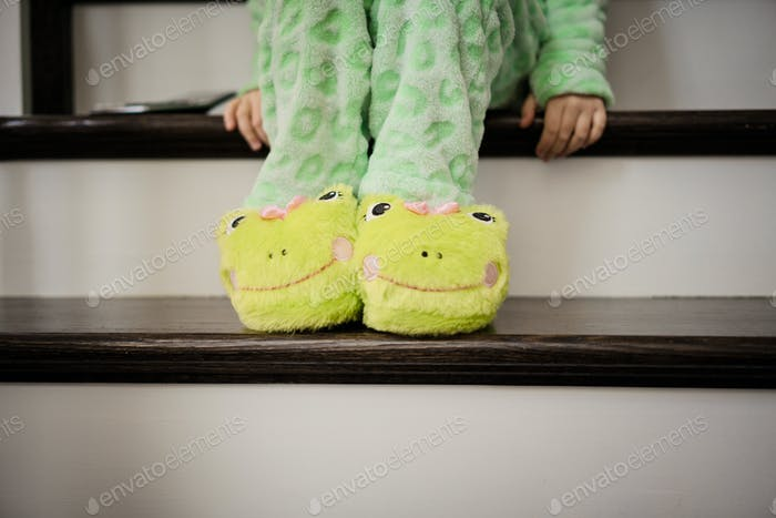 Getting ready for bed or bedtime kids slippers