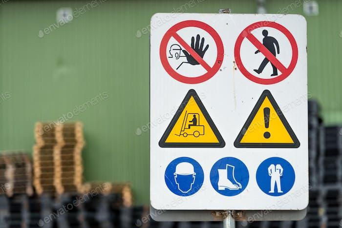 Signs warn of job security.