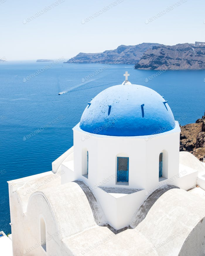 Minimal Church In Blue And White In Famous Greek Island Santorini In Cyclades