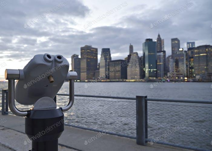Viewfinder binoculars on Brooklyn waterfront