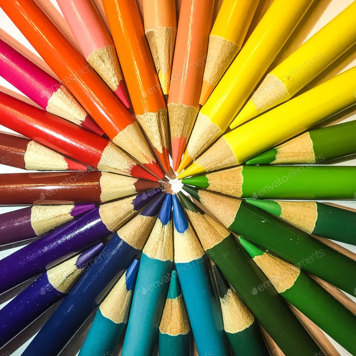 Multi colored rainbow colored colored pencil circle shape to perform a bull's-eye