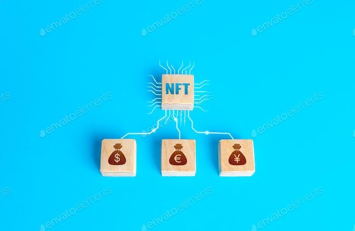 Bloquea el token no fungible NFT y el dinero conectado por líneas. Venta de activos digitales y arte