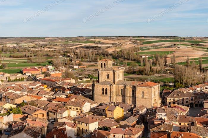 Panoramic view of an old Castilian medieval town. Penaranda de Duero in Spain.