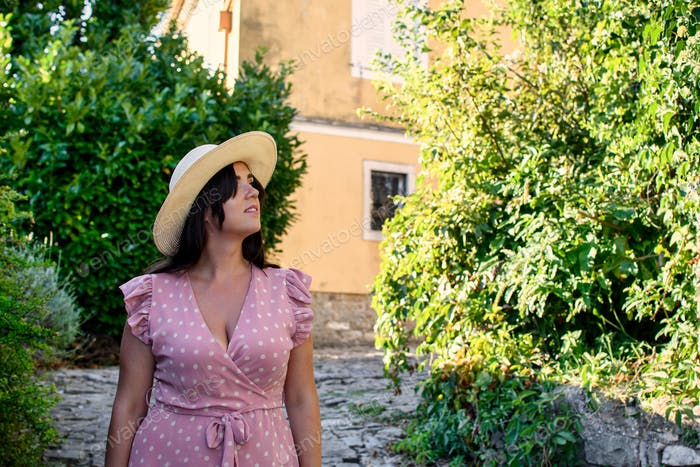 Portrait of a young woman, summer, style, lifestyle, beautiful, greenery, candid.