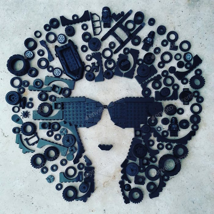 Creative minds,abstract human head portrait made with plastic toys