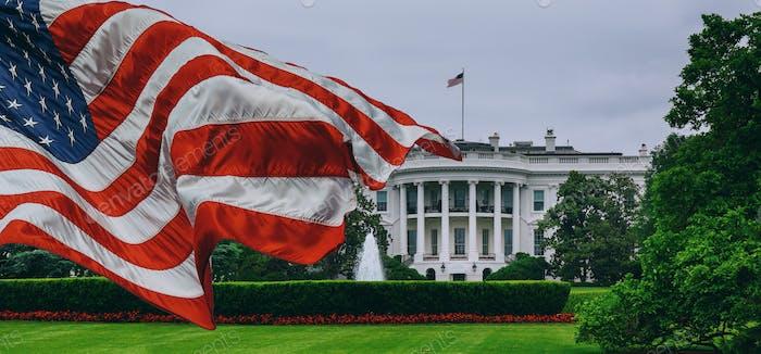Bandera de Estados Unidos Casa Blanca - Washington DC Estados Unidos