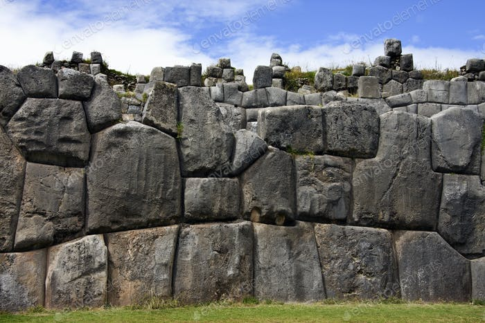 Inca stonework at Sacsayhuaman near Cuzco in Peru, South America.