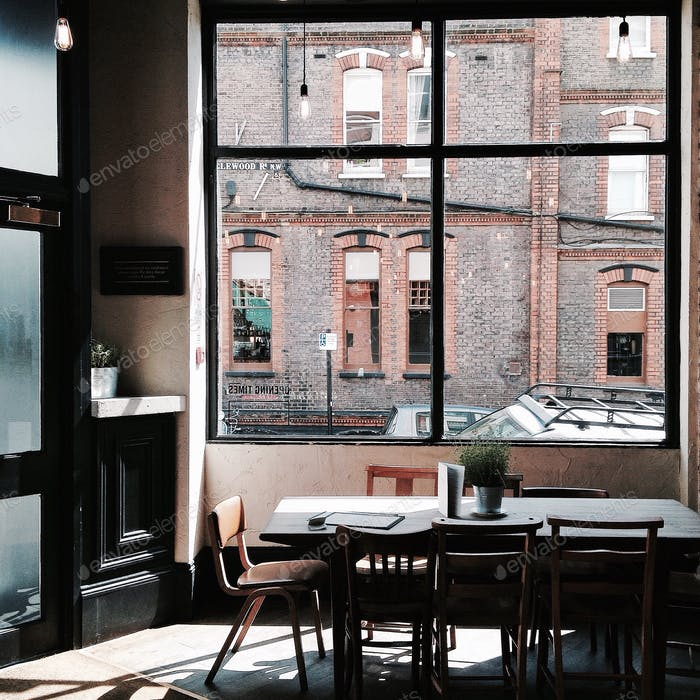 Afternoon light at The Alice House restaurant in West Hampstead, London.