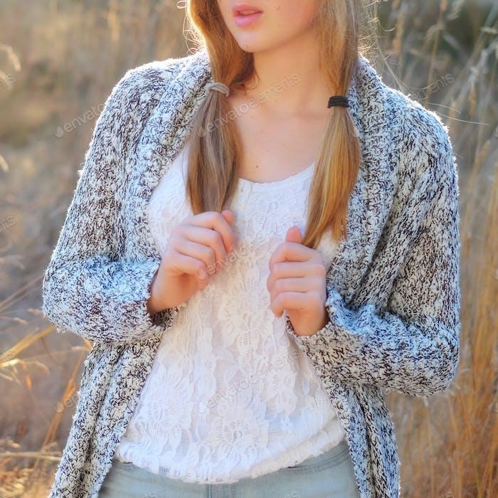 teen girl with braids