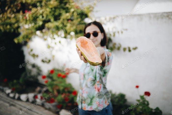 Girl with papaya
