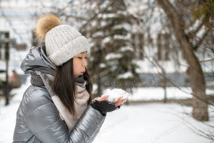 natural beauty, korean, japanese, chinese, winter, snow, cold, young, white, beautiful, outdoors, ha