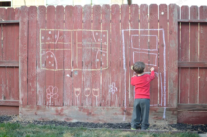 💌📷 NOMINATED 📷💌   Little boy knocking on Imaginary door drawn on the backyard