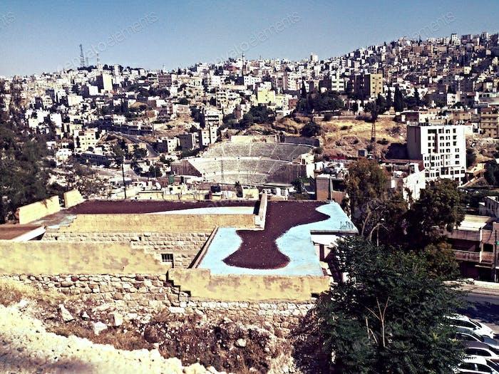 The Roman Amphitheater at  (Mid Town, Amman, Jordan)