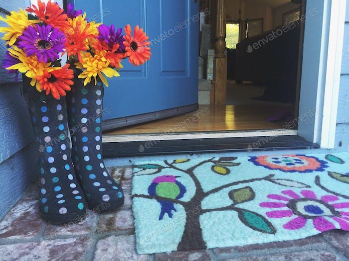 Welcome mat at the front door