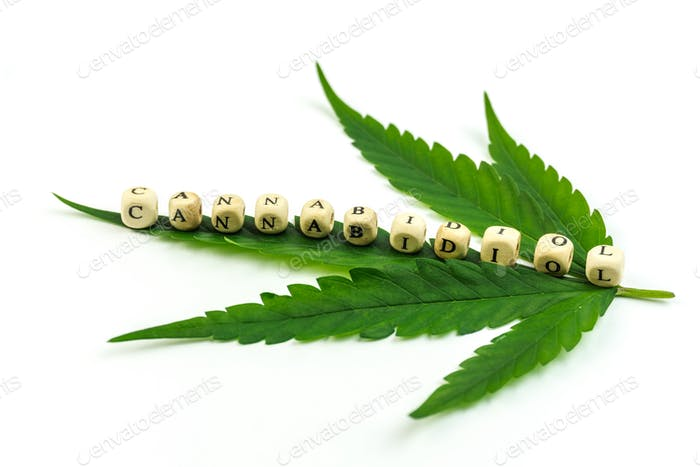 Marijuana leaf with lettered beads writing Cannabidiol