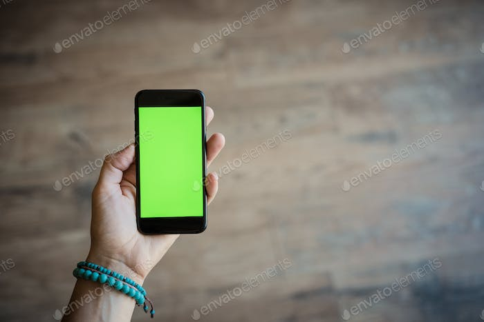 Mobile device or iphone with green screen