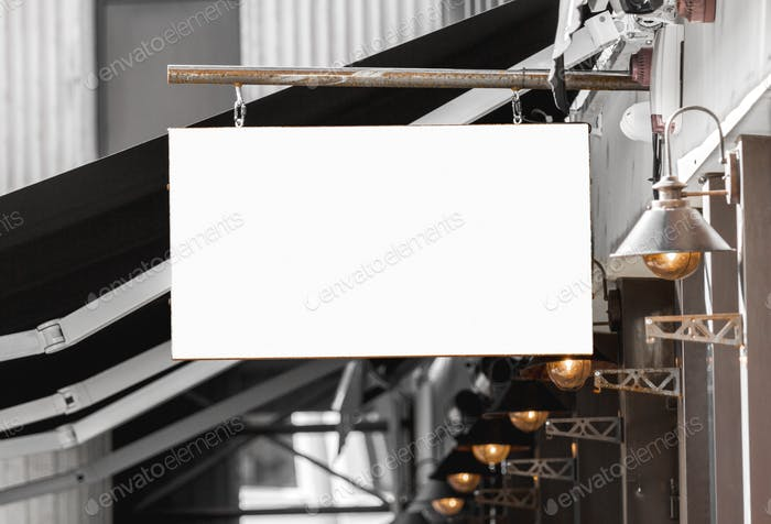 Restaurant or cafe blank outdoor business signage mockup to add company logo