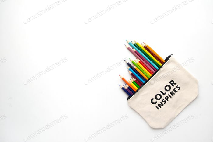 Pouch full of Colored Pencils