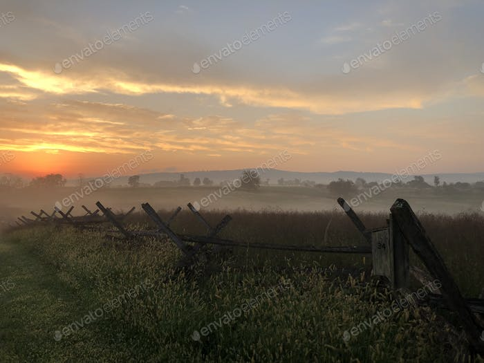 Sunrise over Antietam national battlefield