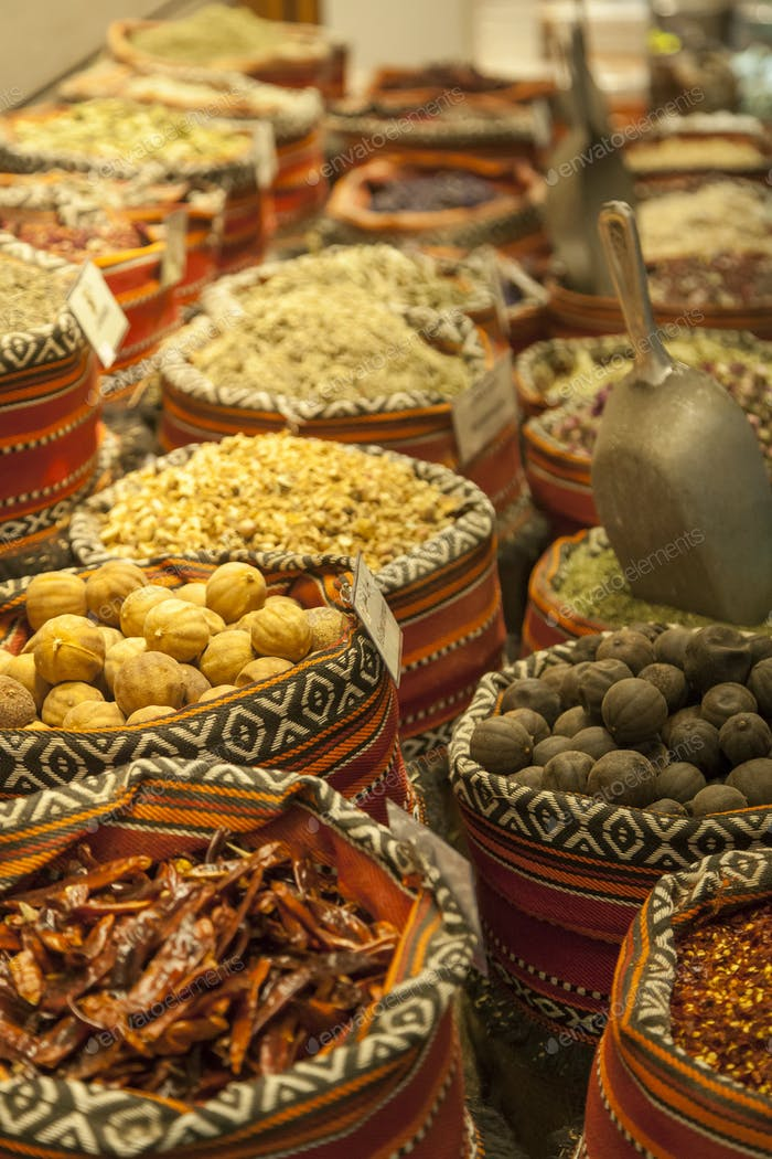 Various Arabic spices at the traditional market in Abu Dhabi l