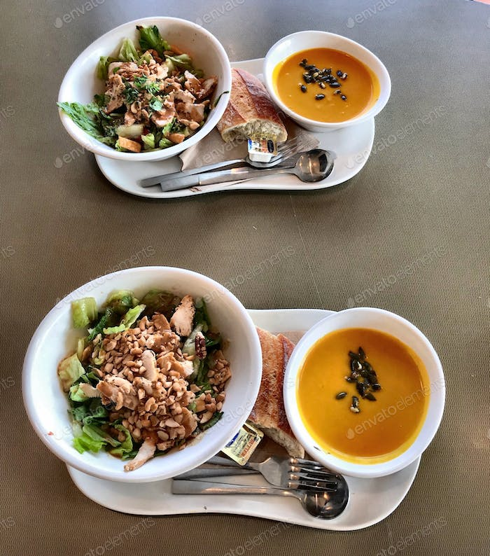 Colorful squash soap with a side salad - a fall food staple.