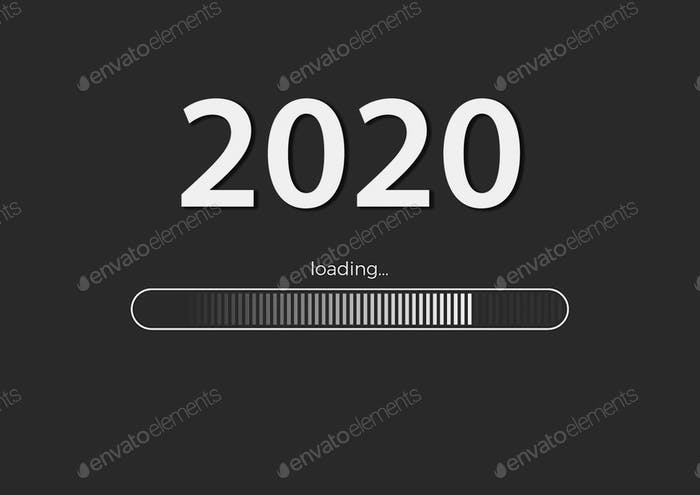 Text -  2020 loading and loading bar on gray background