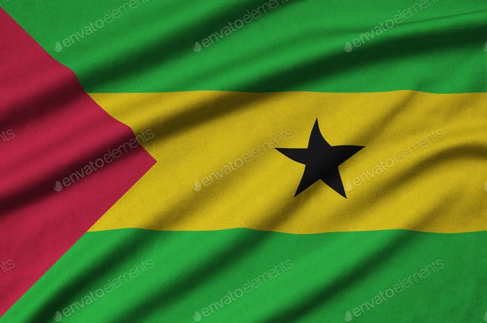 Sao Tome and Principe flag  is depicted on a sports cloth fabric with many folds