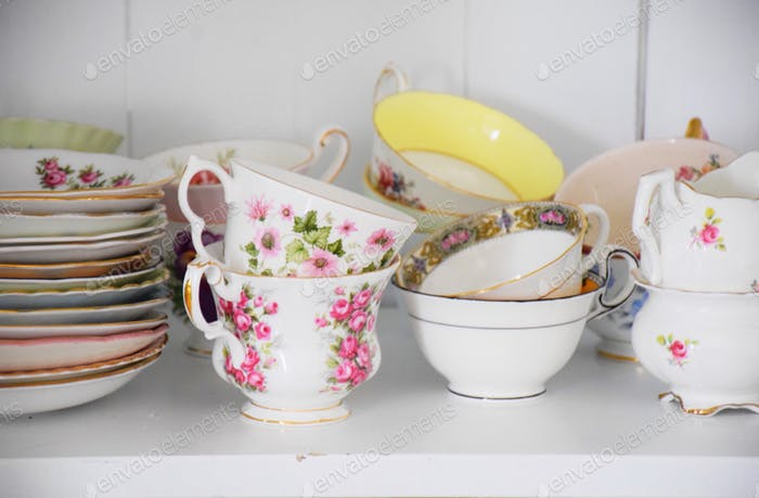 A collection of fine teacups and saucers