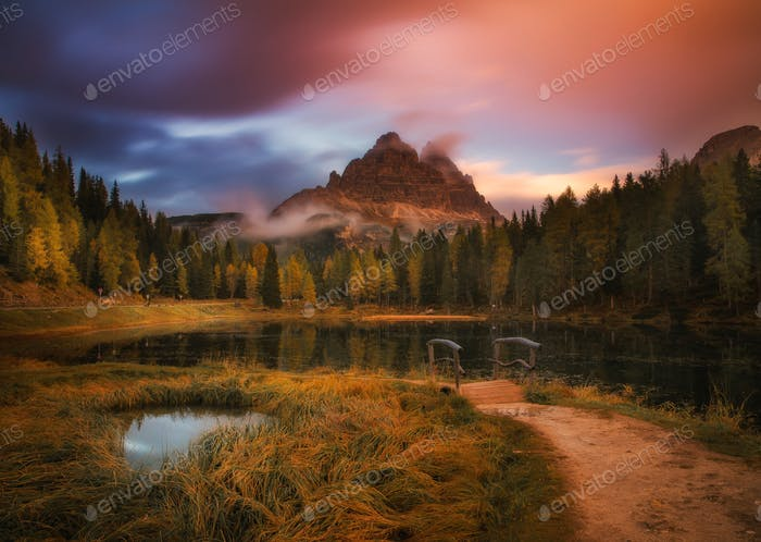 Majestic landscape of Antorno lake with famous Dolomites mountain peak of Tre Cime di Lavaredo