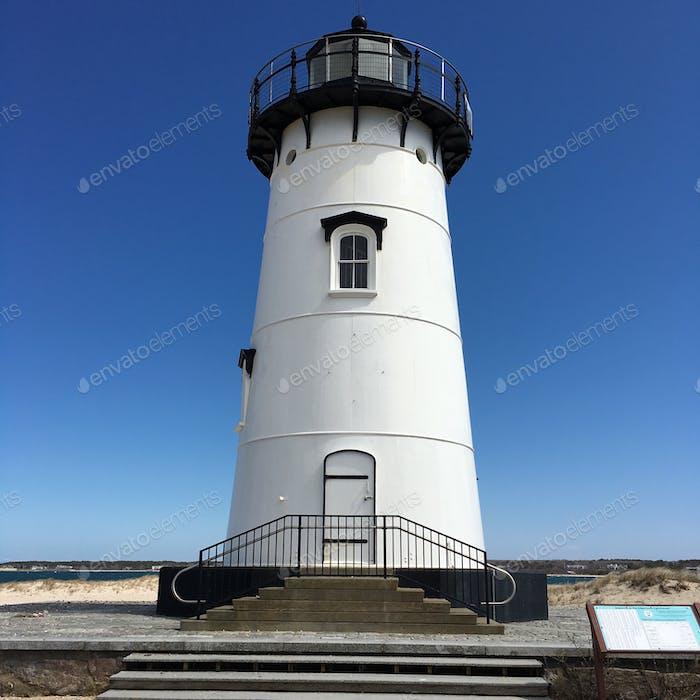 Whitewash. Lighthouse on Martha's Vineyard. Cape Cod, Massachusetts
