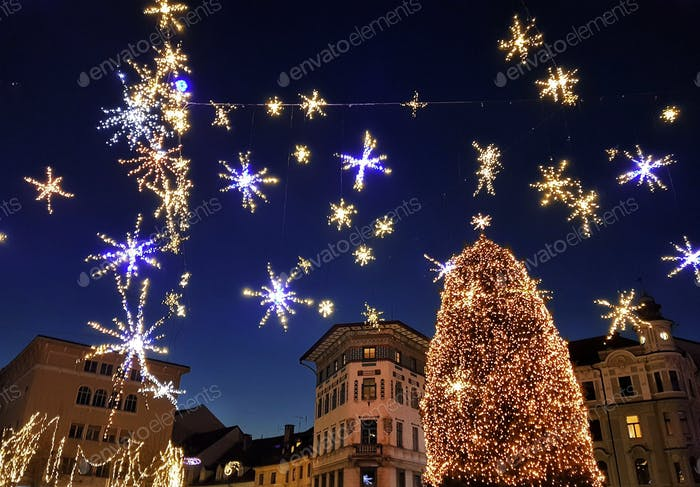 Night shot of Christmas decorations and lights in city of Ljubljana, Slovenia.