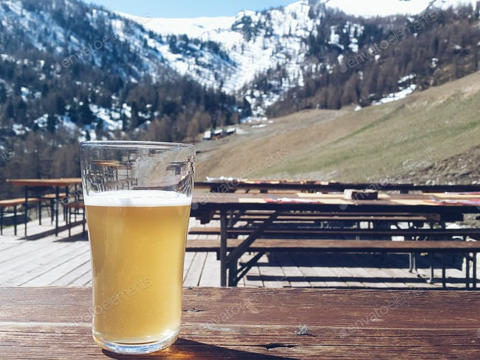 fresh beer on the mountain chalet