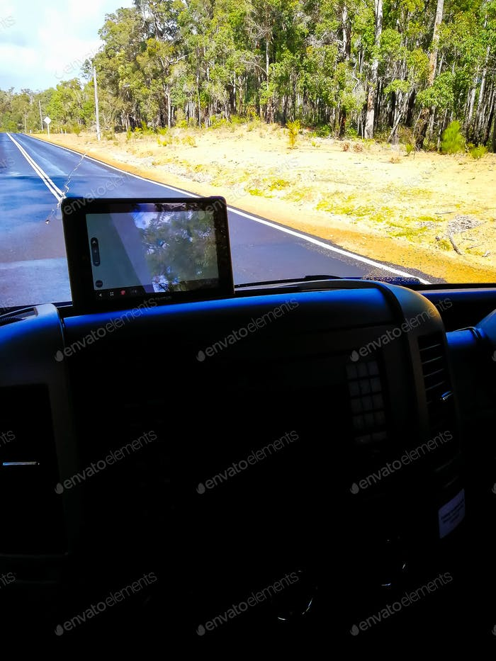 gps monitor inside the motor home on the road in Australia