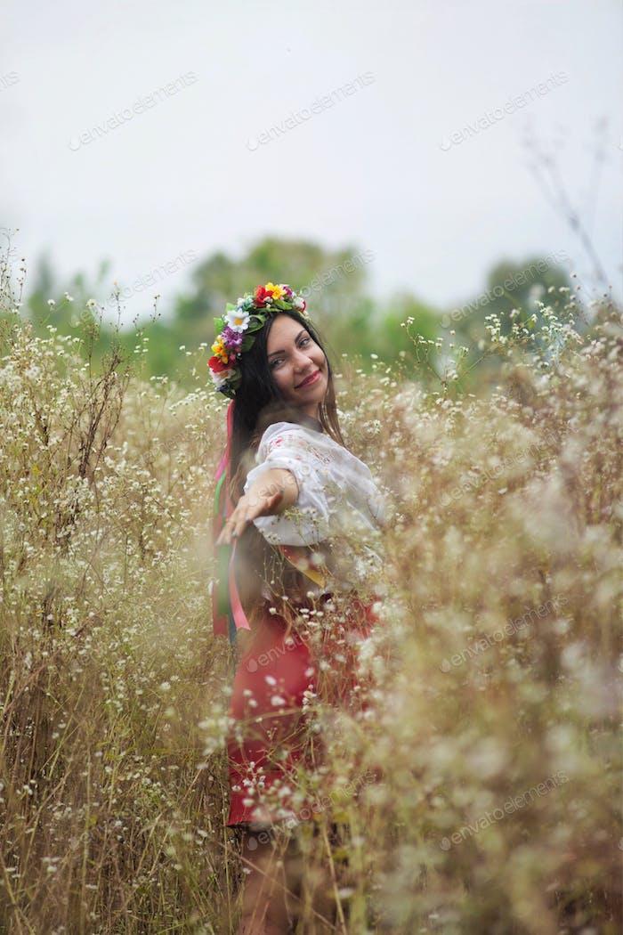 Ukrainian girl in the field