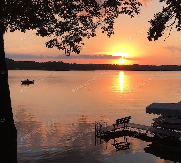 Boating at sunset