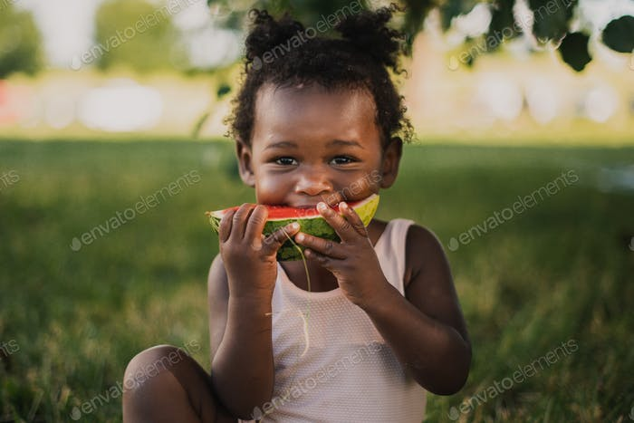 African American toddlergirl sitting in shade tree in summer eating watermelong
