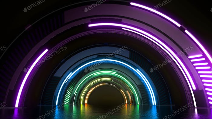 Túnel de tecnología virtual futurista con luces de colores fondo abstracto.
