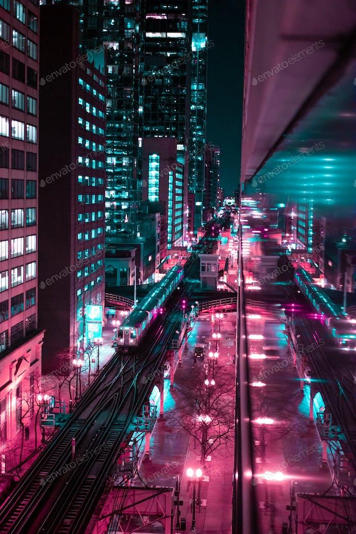 Cyber neon city.